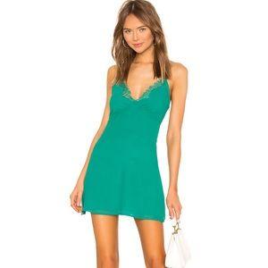NWOT Superdown Green Slip Dress XS Revolve
